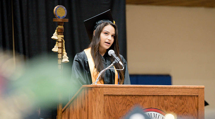 Photo of the Student Speaking at Commencement Ceremony