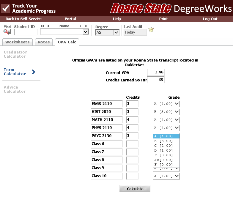 Screenshot of Term Calculator