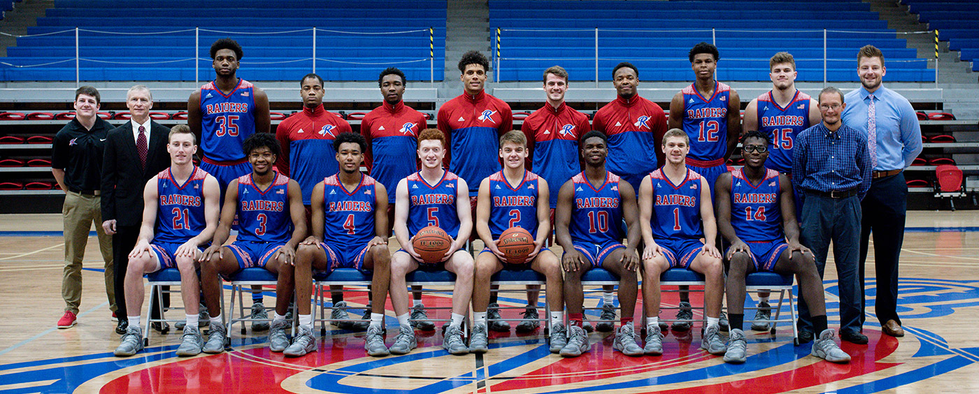 Pictured are the Roane State Raiders. Front row, from left: Isaiah Hobdy, Kavan Hill, Cameron Buchanan, Micah Fallin, Jacob Naylor, Jawaun Moore, J.C. Norris and Malachi Johnson. Second row, from left: student assistant Corbin King, Coach Randy Nesbit, Malachi Gayle, Zy Moore, T.J. Fullwood, Alec Kegler, Jonny Clow, Jaylen McCullum, Elijah Cobb, Austin McKeehan, administrative assistant Mike Elmore and Alan Holt, assistant coach.