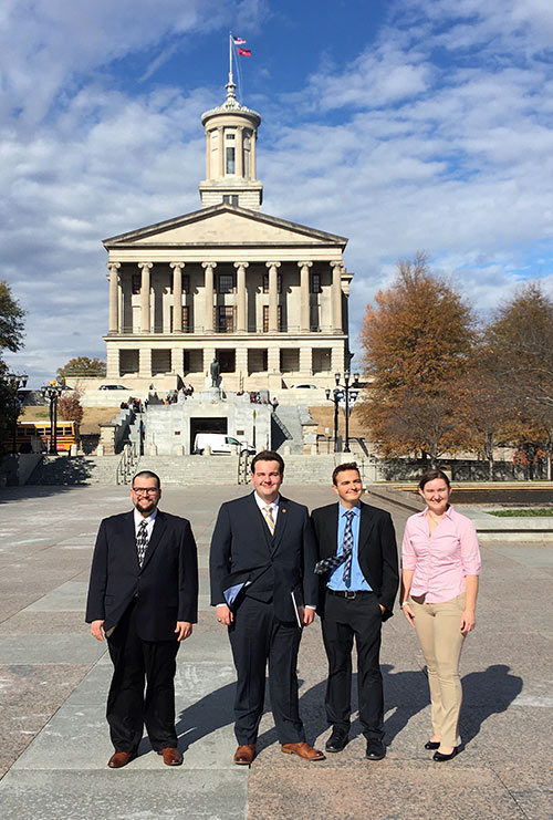 These Roane State students participated in the Tennessee Intercollegiate State Legislature. From left: Jesse Griffin, Eli Anderson, Jacob Hughett and Anna McClure.