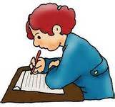 cartoon of boy writing