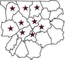 Map of Links to Roane State Campuses