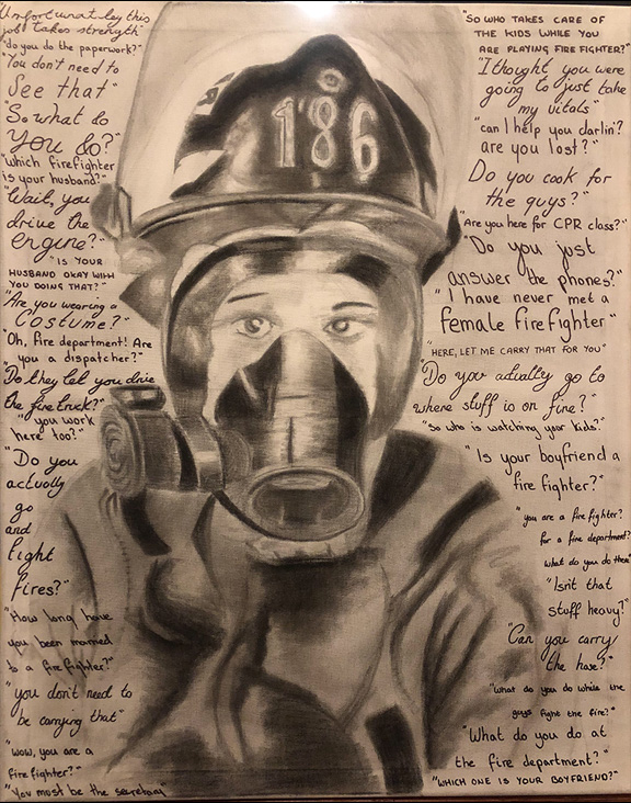Drawing of a female firefighter with biased comments written around her.