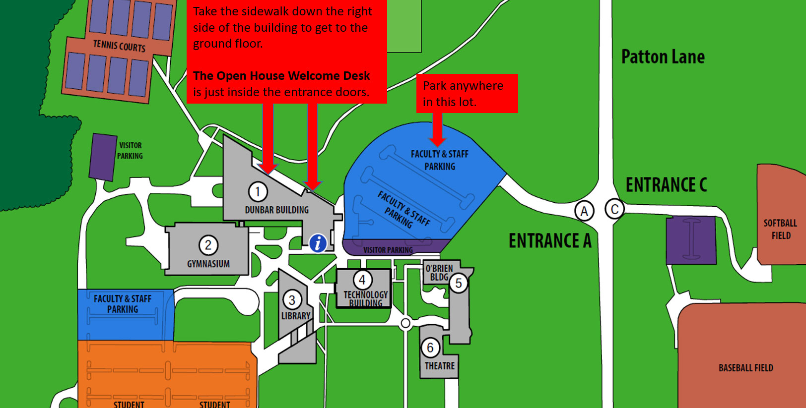 Map shows entering via the north entrance off Patton lane. Park in this parking lot and take the north sidewalk to the entrance of the student center.