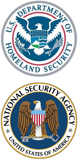 US Department of Homeland Security logo, National Security Agency logo